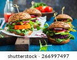 veggie beet and carrot burgers... | Shutterstock . vector #266997497