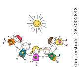 happy kids playing   Shutterstock .eps vector #267005843