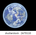 3D rendered planet Earth with atmosphere in space (over black background) - stock photo