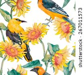 sunflowers and oriole pattern... | Shutterstock .eps vector #267011573