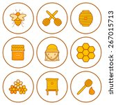 set of hand drawn icons on... | Shutterstock .eps vector #267015713