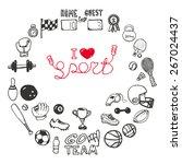 set of hand drawn sport doodles ... | Shutterstock .eps vector #267024437