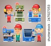 set of cartoon workers working... | Shutterstock .eps vector #267027353