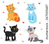 Cute Little Cats.vector Cartoo...