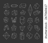 set of crystals. geometric...