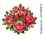 Red Roses Bouquet. Vector Eps...