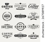 typographic coffee themed label ... | Shutterstock .eps vector #267089927