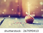 cupcake with bow and candle  ...   Shutterstock . vector #267090413