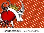 winged heart ribbon tattoo... | Shutterstock .eps vector #267103343