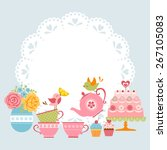 tea party invitation with cute... | Shutterstock .eps vector #267105083