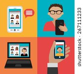 technology design over colorful ... | Shutterstock .eps vector #267111233