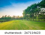 beautiful green park with sun... | Shutterstock . vector #267114623