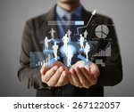 businessman with financial... | Shutterstock . vector #267122057
