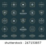 Set Luxury Logos template flourishes calligraphic elegant ornament lines. Business sign, identity for Restaurant, Royalty, Boutique, Hotel, Heraldic, Jewelry, Fashion and other vector illustration | Shutterstock vector #267153857