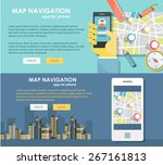 flat design illustration map... | Shutterstock .eps vector #267161813