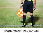 assistant referees signalling... | Shutterstock . vector #267164933