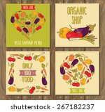 set of cards with vegetables ... | Shutterstock .eps vector #267182237