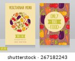 menu cards template for vegan... | Shutterstock .eps vector #267182243