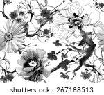 beautiful seamless floral...   Shutterstock . vector #267188513