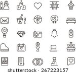 outlined wedding icons in white ... | Shutterstock .eps vector #267223157