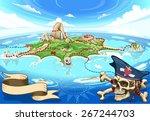 neverland adventure map pirate... | Shutterstock .eps vector #267244703