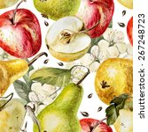 watercolor pattern with apples  ... | Shutterstock .eps vector #267248723