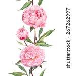 peony pink flowers. seamless... | Shutterstock . vector #267262997