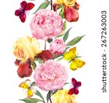 Peony  Iris Flowers And Summer...
