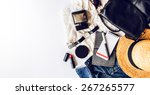 casual  trendy outfit of young ... | Shutterstock . vector #267265577