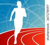 running fitness man sprinting... | Shutterstock .eps vector #267278597