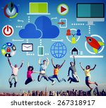 cloud computing network online... | Shutterstock . vector #267318917