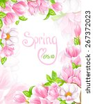 floral vector frame with... | Shutterstock .eps vector #267372023