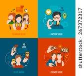 selfie design concept set with...   Shutterstock .eps vector #267372317