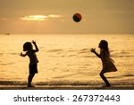 two happy children playing on... | Shutterstock . vector #267372443