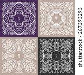 vector floral frame. mono line... | Shutterstock .eps vector #267393293
