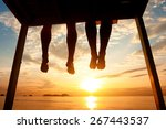 silhouette of feet of couple... | Shutterstock . vector #267443537