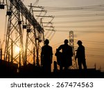 silhouette man engineer looking ... | Shutterstock . vector #267474563