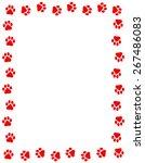 Red Color Dog Paw Prints Frame...