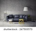 3d Interior Room With Dark Sof...