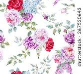Watercolor Flower Pattern Rose...
