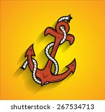 retro anchor with rope vector | Shutterstock .eps vector #267534713