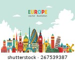 europe skyline detailed... | Shutterstock .eps vector #267539387