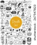 big doodle set   coffee  tea ... | Shutterstock .eps vector #267547823