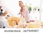 Woman Selling Fresh Cheese At...