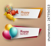 set of birthday banners. vector ... | Shutterstock .eps vector #267556013