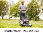 man working in garden cutting... | Shutterstock . vector #267556253