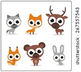 collection of funny forest... | Shutterstock . vector #267557543