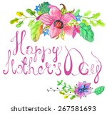 happy mothers day card with... | Shutterstock .eps vector #267581693