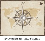 vintage nautical compass. old... | Shutterstock .eps vector #267596813