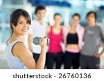 gym woman  exercising with free ... | Shutterstock . vector #26760136